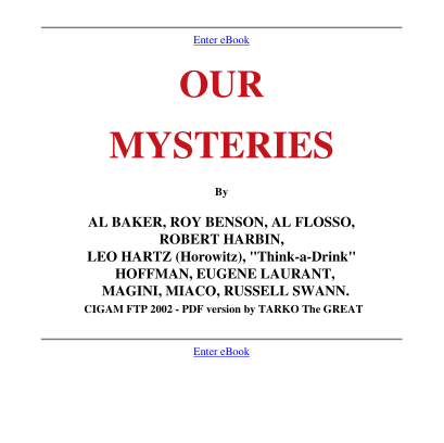 Al Baker & Co - Our Mysteries PDF ebook download