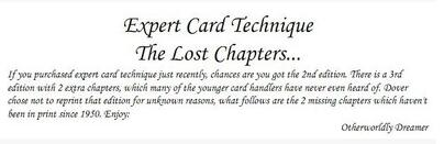 Dai Vernon - Expert Card Technique (The Lost Chapters)