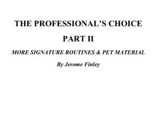 Jerome Finley - The Professionals Choice II