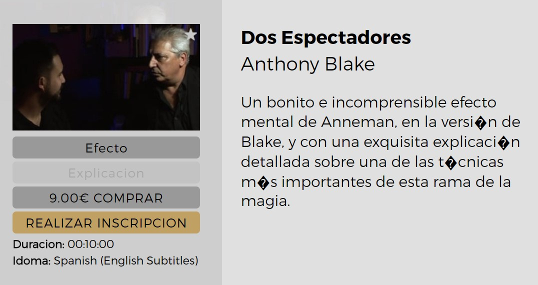 Dos Espectadores by Anthony Blake (video download Spanish)