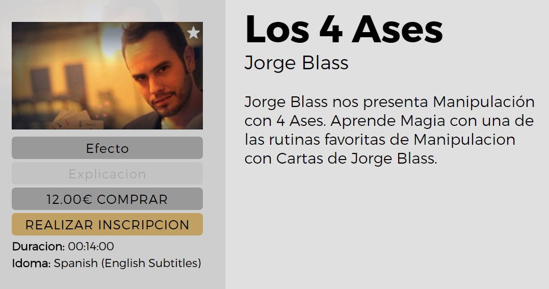 Los 4 Ases by Jorge Blass (video download Spanish)