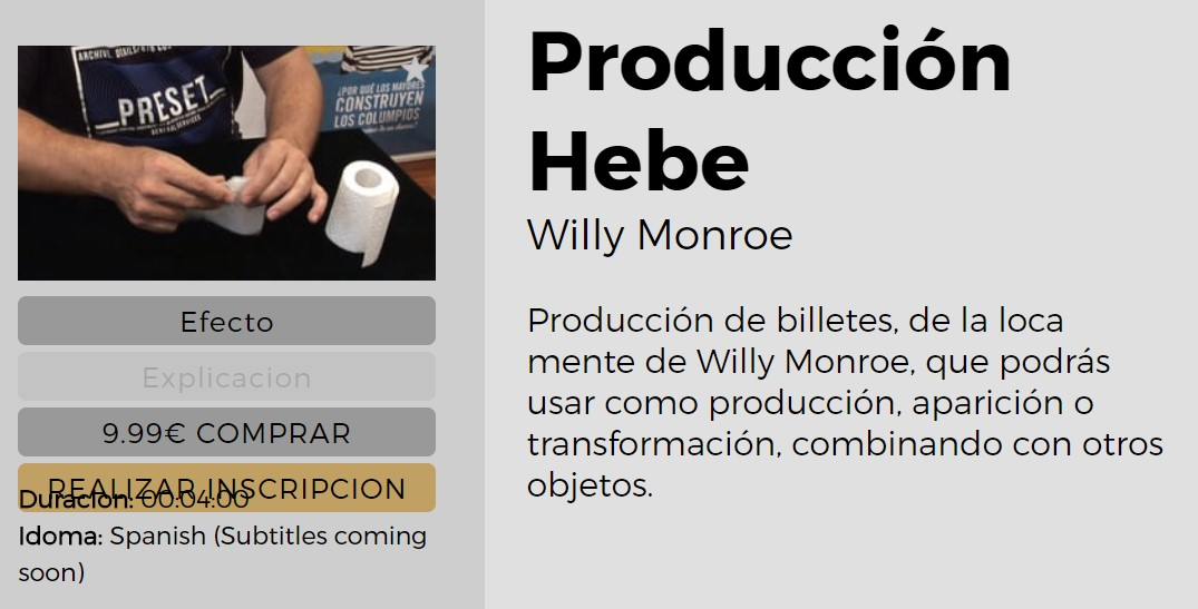 Produccion Hebe by Willy Monroe (video download Spanish)