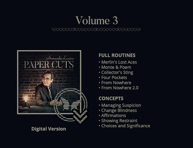 Paper Cuts Vol 3 by Armando Lucero (DVD Download)