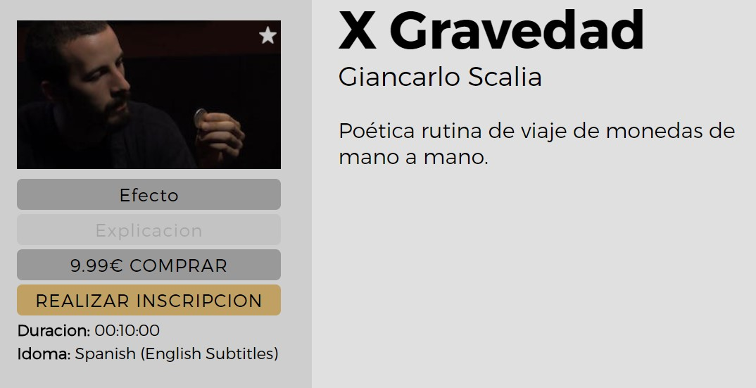 X Gravedad by Giancarlo Scalia (video download Spanish)