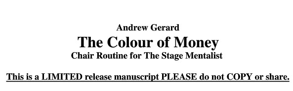 Andrew Gerard - the Color of Money