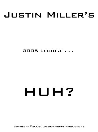 Justin Miller - Huh - Lecture Notes 2005
